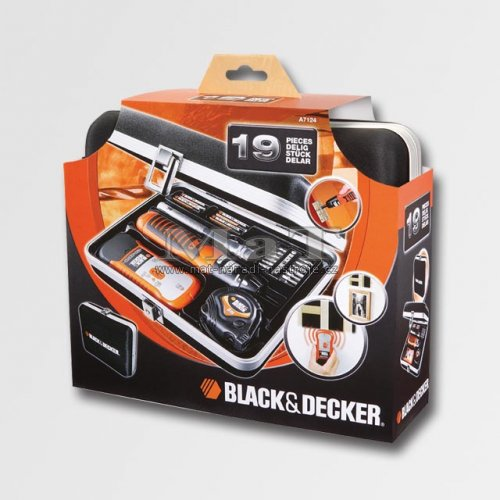 18 dílná mix sada,detektor,aku šroubovák Black and Decker